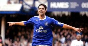 Mikel Arteta celebrating a goal for Everton