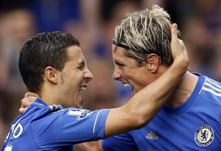 Image of Torres and Hazard for Chelsea