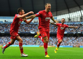 Rickie Lambert celebrating at the Etihad